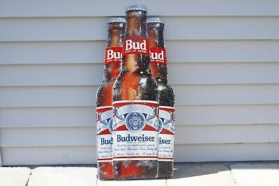 $ CDN72.67 • Buy Budweiser King Of Beers Tin / Metal Sign 3 Beer Bottles