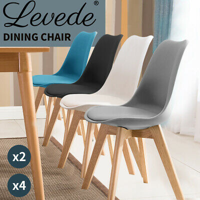 AU159.99 • Buy Levede Dining Chairs Chair Replica PU Leather Cafe Chair Set Of 2/4  Wooden Legs