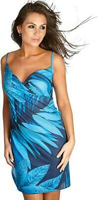 Size Large Wrap Beach Dress NEW By Saress Ocean Style Blue Fan Leaf Washable • 4.99£