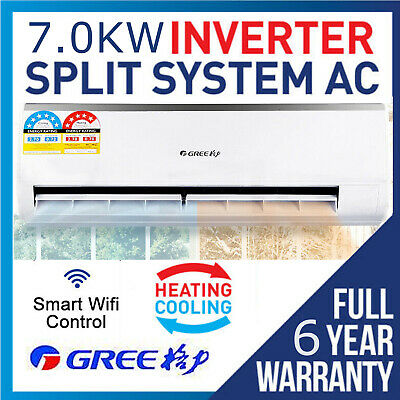 AU2079 • Buy Gree 7.0KW Inverter Reverse Cycle Split System Air Conditioner Wifi Control