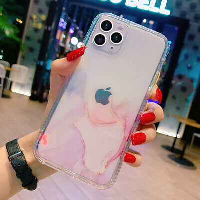 AU9.99 • Buy For IPhone 12/Pro/Max/Mini 11 Clear Marble Shockproof Case Glitter Bling Cover