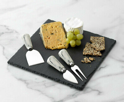£14.95 • Buy SIMPLY HOME Square Slate Cheese Board Set With 3 Knives 25cm