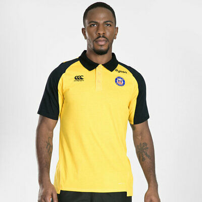 £15.99 • Buy Bath Canterbury Rugby Men's 2019-20 Performance Cotton Polo Shirt - Yellow - New