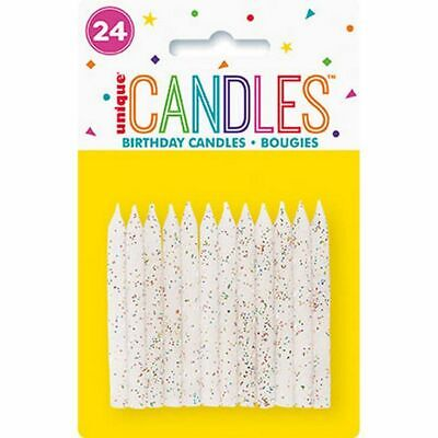 Unique Party 19974 White & Glitter Spiral Birthday Candles, Pack Of 24, White • 16.08£