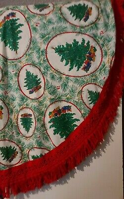 $ CDN30.51 • Buy Vintage Christmas Tree And Presents Printed Tablecloth Red Fringe Round 72