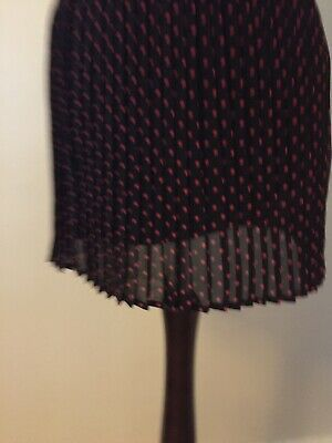 F&F, Black Red Polka Dot Pleated Chiffons Midi Skirt, Size 8, Great Condition • 2.99£