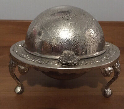 Superb Vintage Silver Plated Roll Top Butter/Caviar Dish & Glass Liner • 35£