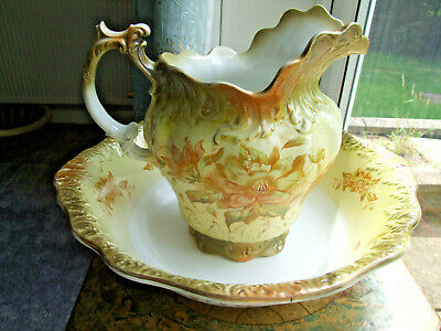 Large Victorian Pottery Wash Jug & Bowl - Collection Only • 9.99£