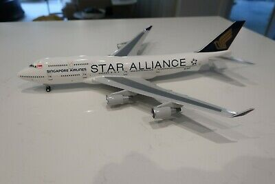 AU220 • Buy RARE - Singapore Airlines 747-400 1:200  STAR ALLIANCE  - 9V-SPP - Skymarks