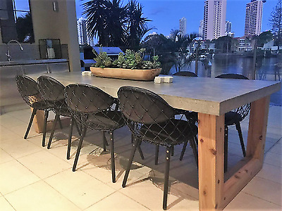 AU3350 • Buy 2.7m 10 Seater Concrete & Timber Dining Table Indoor Outdoor Patio Furniture