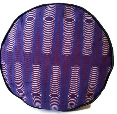 African Print Purple Black Faux Leather Handmade Pouffe Floor Cushion Footstool  • 25£