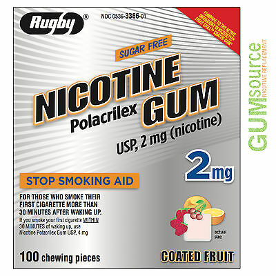$ CDN20.63 • Buy Rugby Nicotine Gum 2mg Coated Fruit  1 Box 100 Pieces