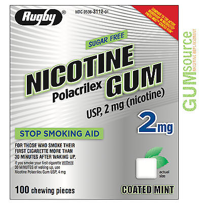 $ CDN0.11 • Buy Rugby Nicotine Gum 2mg Coated Mint  1 Box 100 Pieces