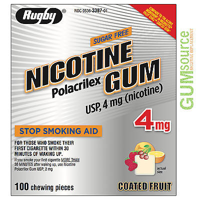 $ CDN0.01 • Buy Rugby Nicotine Gum 4mg Coated Fruit  1 Box 100 Pieces