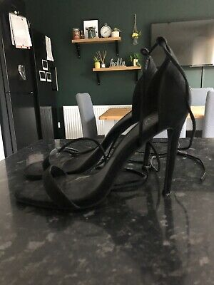 Missguided Black UK Size 8 Lace Up Barely There High Heel Shoes BRAND NEW • 1.10£