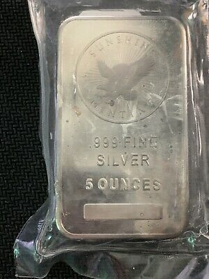 $ CDN132.61 • Buy 5 Oz .999 Fine Silver Sunshine Bar 5 Oz Sealed In Plastic