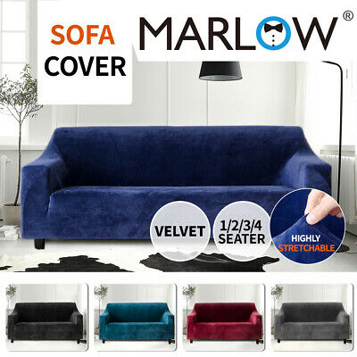 AU37.99 • Buy Marlow Stretch Sofa Cover Couch Lounge Slipcover Protector 1 2 3 4 Seater Plush