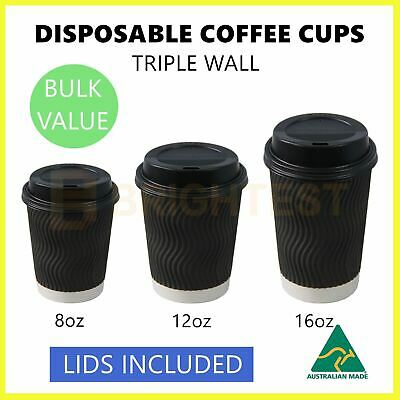AU45.95 • Buy Disposable Paper Coffee Cups 8 12 16 Oz Triple Wall Drink Tea Water Cup Lids