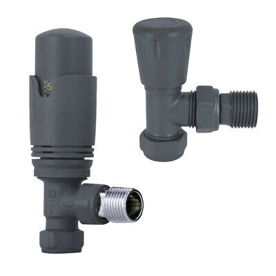 £24.99 • Buy Thermostatic Manual Radiator Valves Heated Towel Rail Angled Anthracite TRV 15mm