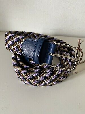 Anderson's Weaved Men Multicolour Elasticated Belt UK40 EU100 Made In Italy New • 40£
