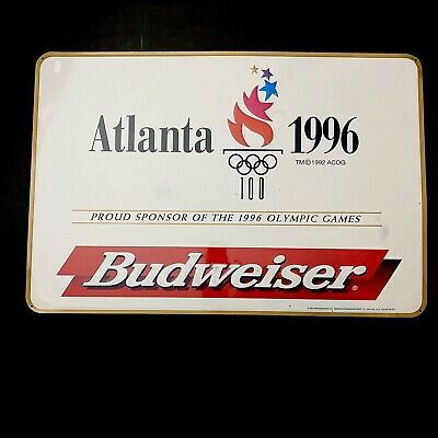 $ CDN95.24 • Buy Vintage 90s Tin Metal Budweiser Beer Sign Bud 1996 Atlanta USA Olympics Man Cave