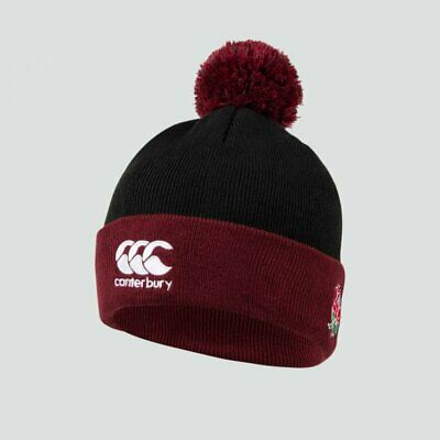 England Rugby Canterbury Men's Bobble Beanie Hat - Black - New • 11.99£