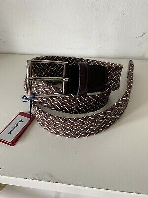 Anderson's Weaved Men Multi Leather Blend Belt UK38 EU95 Made In Italy New • 45£