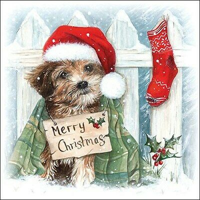 5 Paper Party Napkins Christmas Puppy Pack Of 5 3 Ply Tissue Serviettes • 2.50£