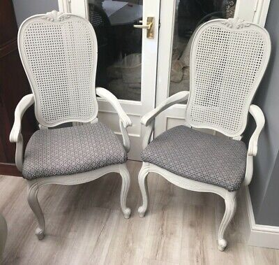 French Louis Style Carver Dining Chairs Rattan Back Pair • 100£