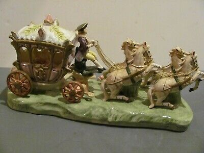 $ CDN196.36 • Buy Vintage Capodimonte Porcelain Lady In Carriage W/ 4 Horses Figurine 14  Signed