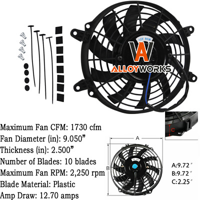 AU39 • Buy 9  INCH PULL/PUSH RADIATOR Curved Blade Electirc Thermo FANS&MOUNTING UNIVERSAL