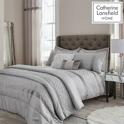 £12.99 • Buy Catherine Lansfield Sequin Cluster Silver Luxury Duvet Cover Set Or Accessories
