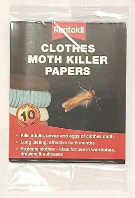 Rentokil Clothes Moth Killer Papers Kills Adults Larvae And Eggs Last 6 Months • 3.99£