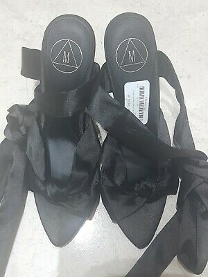 New Missguided Pointed Tow Satin Heel With Lace Up Ankle In Black Shoes Size 4 • 8£