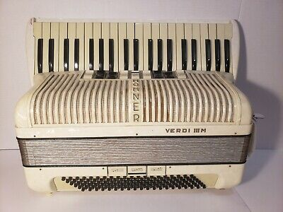 $385.49 • Buy Vintage Hohner Verdi III M Pearl White Accordion With Straps And Case