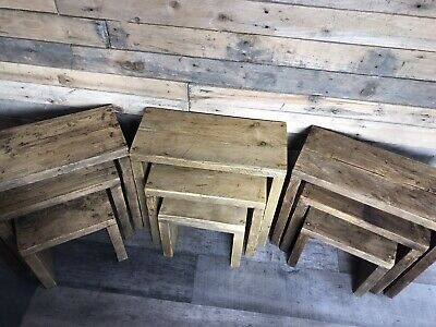 Rustic Reclaimed Wood Nest Of Tables Farmhouse Side Table Set. • 75£