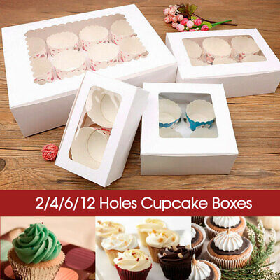 AU17.99 • Buy Up T0 100x Cupcake Boxes 2/4/6/12 Holes Clear Window Cupcake Display Muffin Cups