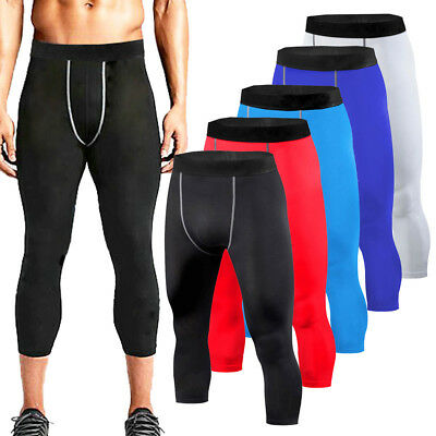 £6.99 • Buy Mens Compression 3/4 Pants Gym Wear Base Layer Running Tights Sports Clothes