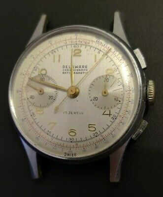 $ CDN466.69 • Buy Vintage Delaware Chronograph With Le Phare Movement Landeron 48 Or 248 AS IS