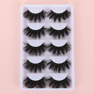 5Pairs SKONHED 4D Faux Mink Hair False Eyelashes Full Volume Thick Fluffy Lashes • 4.50£