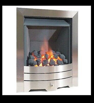 £264.90 • Buy Gas Fire Brushed Steel Real Flame Inset Slimline Multi-flue Stainless Steel Coal