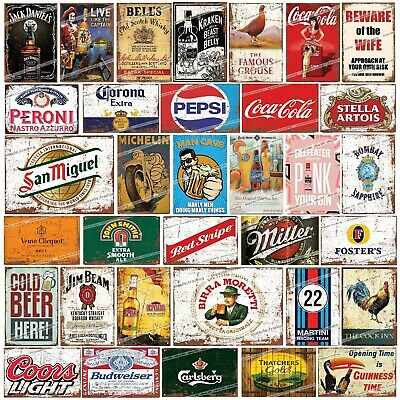 METAL SIGNS Retro Alcohol Man Cave Garage Kitchen Gift Funny Beer Rustic Vintage • 3.45£