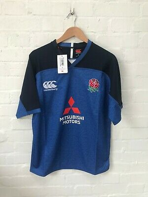 England Rugby Canterbury Men's Challenge Training Player Issue Shirt - Blue  New • 29.99£