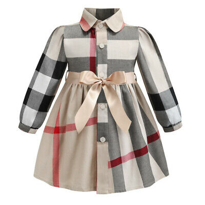 Girls Plaid Shirt Dress Long Sleeve Party Prom Lattice Checked Bow Outfits 3-4Y • 1.40£
