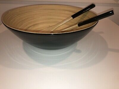 "$15 • Buy Beautiful Large 14""Bamboo Salad Bowl 3 Piece Kit"