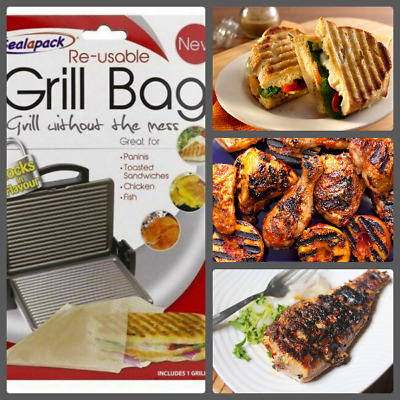 Reusable Grill Bag Paninis Toasted Sandwiches Chicken Fish • 2.19£