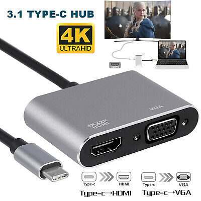 AU18.99 • Buy 4K USB 3.1 Type C To VGA Multiport Adapter HDMI 4K Converter  For Tablet Macbook