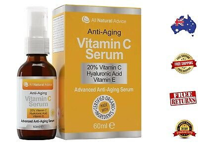 AU34.49 • Buy Vitamin C Serum - Certified Organic + 11% Hyaluronic Acid + Vitamin E Moisturize