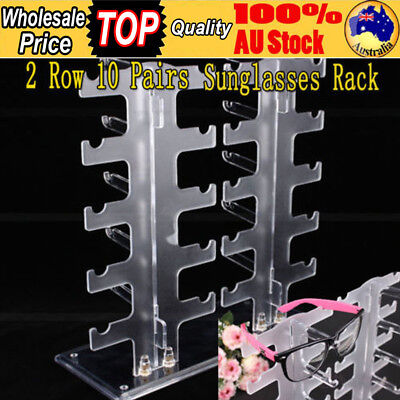 AU21.49 • Buy 2 Row 10 Pairs Sunglasses Glasses Rack Holder Frame Display Stand Transparent