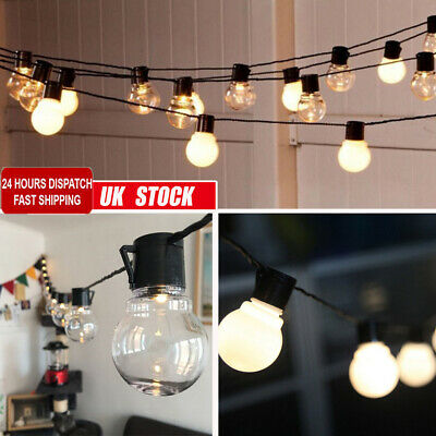 20 Bulb String Lights Mains Garden Xmas Outdoor Hanging Fairy Lamps Lighting DIY • 16.89£